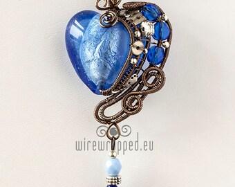 OOAK Blue steampunk heart wire wrapped pendant