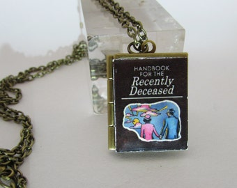Handbook for the Recently Deceased, Beetlejuice  Vintage Book Locket Pendant with Antique Chain Handmade