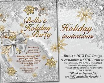 Gold Silver Snowflake Invitation, Winter Wonderland Party Invitation, Snowflake Holiday Invitation, Christmas Party Invitation