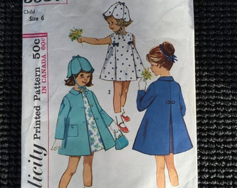Simplicity 5337 Girl's Dress Coat Hat Sewing Pattern Size 6 UNCUT