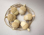 Made to Order, Hand sculpted wooden acorns, wood carving, rustic home decor, Set of 6
