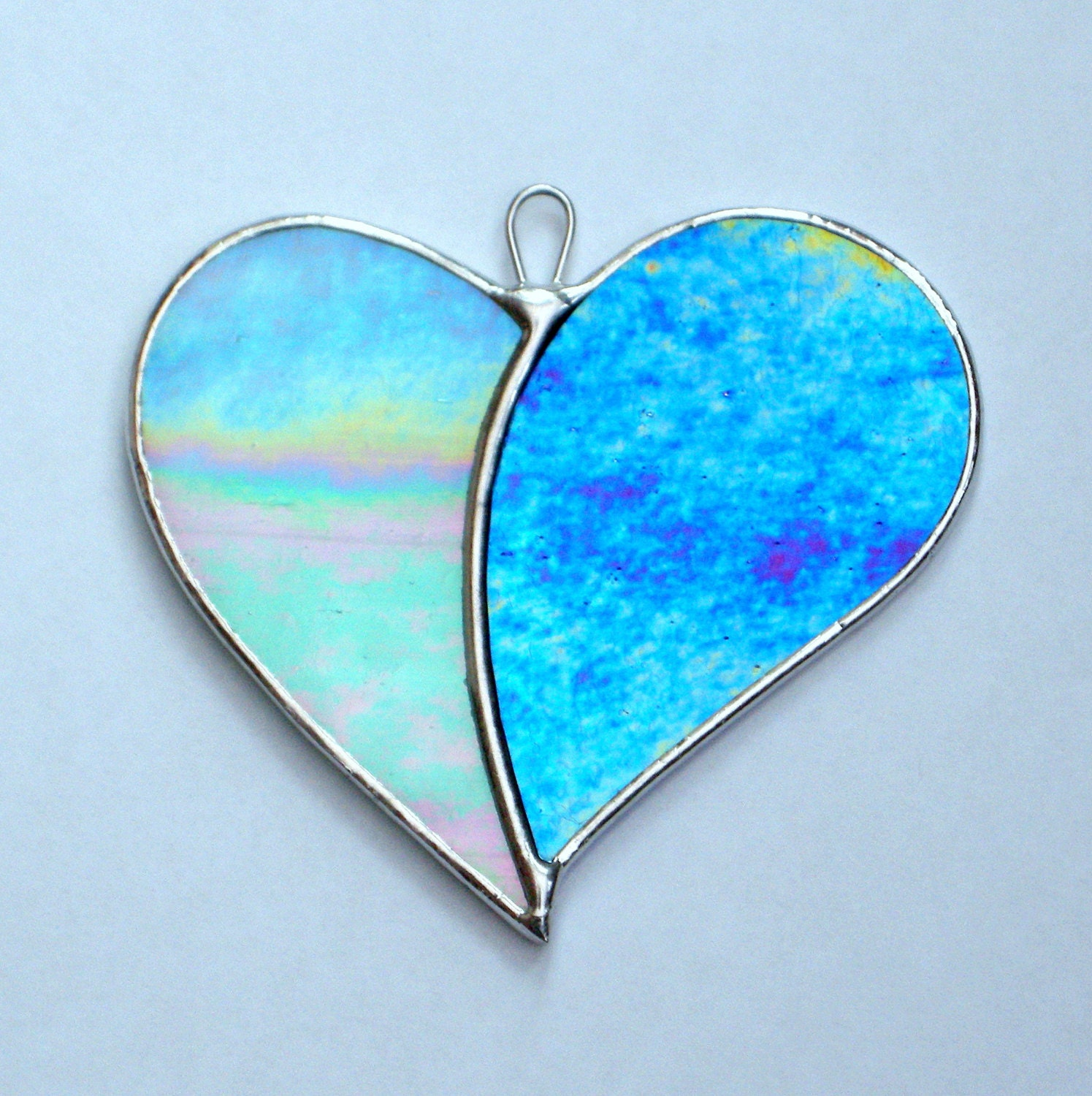 Stained Glass Ornament Love Heart When Two Hearts