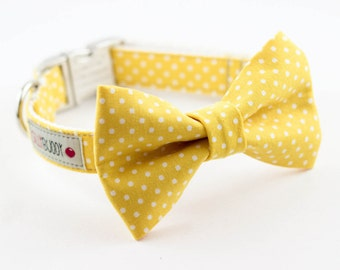Yellow Polka Dot Bowtie Dog Collar