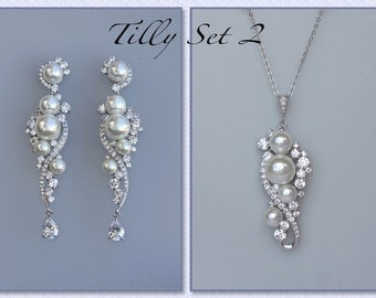 Pearl Bridal Jewelry Set,  Earrings & Necklace Set, Pearl Jewelry Set, Silver Wedding Jewelry Set, TILLY