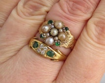 ANTIQUE 9ct/18ct Gold Diamond/Emerald/Pearl/Paste RING Stack