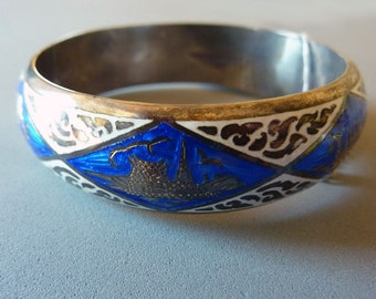 Vintage Siam Bracelet- Sterling Silver- Blue & White Enamel  1950s Thailand - Tag and Safety Chain-New Old Stock