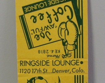 1940s Joe Awful Boxer Boxing Ringside Lounge Denver CO Colorado Matchcover