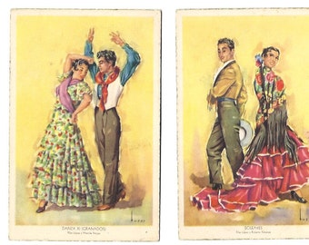 2 Sevillana FLAMENCA Postcard - Retro Vintage SEVILLA never used post card from Spain - Spanish dance and Soleares