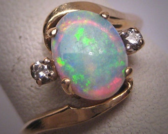 Vintage Australian Opal Diamond Ring Art Deco Antique Wedding 1950
