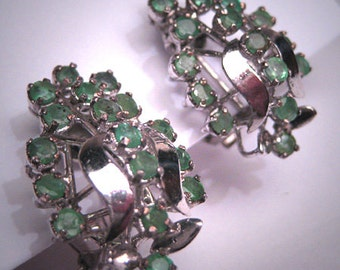 Antique Emerald Earrings Vintage Art Deco Retro c.1950 Emeralds