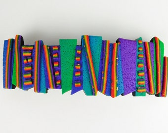 Crazy Stripe Barrette, Large in Blue, Purple, Green, Violet and Rainbow Polymer Clay
