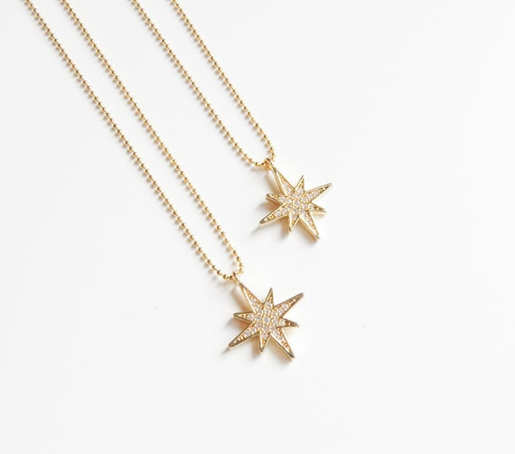 Gold North Star Necklace | North Star Necklace | Wanderlust Necklace | Dainty Star Necklace | Pave Diamond Star | Christmas Gift For Her