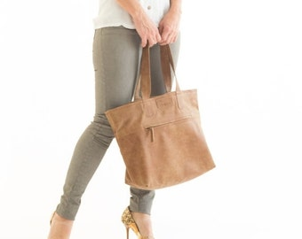 Over Size leather Bag, Zipper Tote Bag, Leather tote bag for women, Brown Leather shoulder bag, Soft Leather Bag, office bag, everyday bag