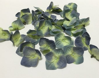 30 Hydrangea Blossoms in Shades of Blue Yellow Green - Artificial Hydrangea Blossoms