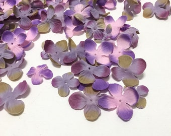 Silk Flowers - 70 Hydrangea Blossoms in Purple Pink and Khaki - Artificial Flowers