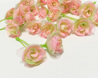 Tiny Pink and Green Sweetheart Roses - MINIATURE Roses, Silk Flowers, Artificial Flowers
