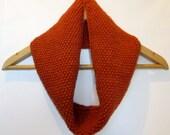 Cowl Infinity Scarf in Burnt Orange Alpaca Wool
