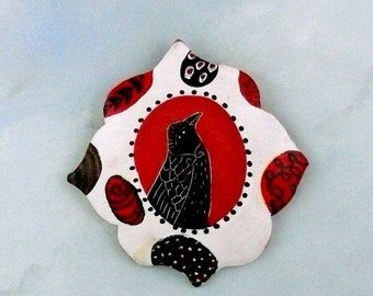 Cool Down Sale The Crow Knows, ceramic art tile, clay wall tile, handmade pottery