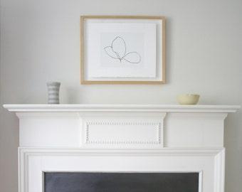 small ink drawing screenprint 'Three Leaves', original modern handmade art in black and white. Simple wall decor by Emma Lawrenson