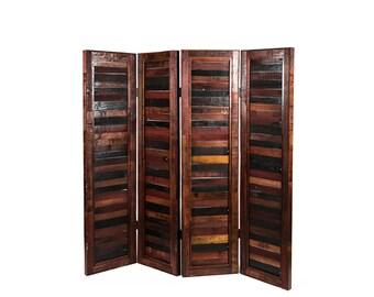 "SCREEN - ""Pracira"" - Folding Wine Barrel Room Divider / Screens - 100% Recycled"