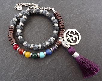 Matte Black Purple Double Wrap Beaded Chakra Yoga Bracelet - Buddha Tassel Gypsy Jewelry Hippie Bohemian Artisan