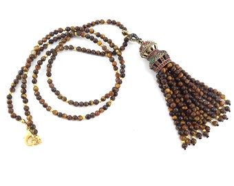 Ethnic Turkish Tassel Necklace Brown Tiger Eye Stone Gemstone Statement Gypsy Hippie Bohemian Artisan - One Of A Kind