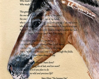 Custom, painted just for you, Horse / Pet Portrait with text of your choice - Original Watercolor Painting, size: 10x8 inches