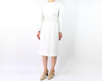 VINTAGE White Dress Gold Studded 1980s