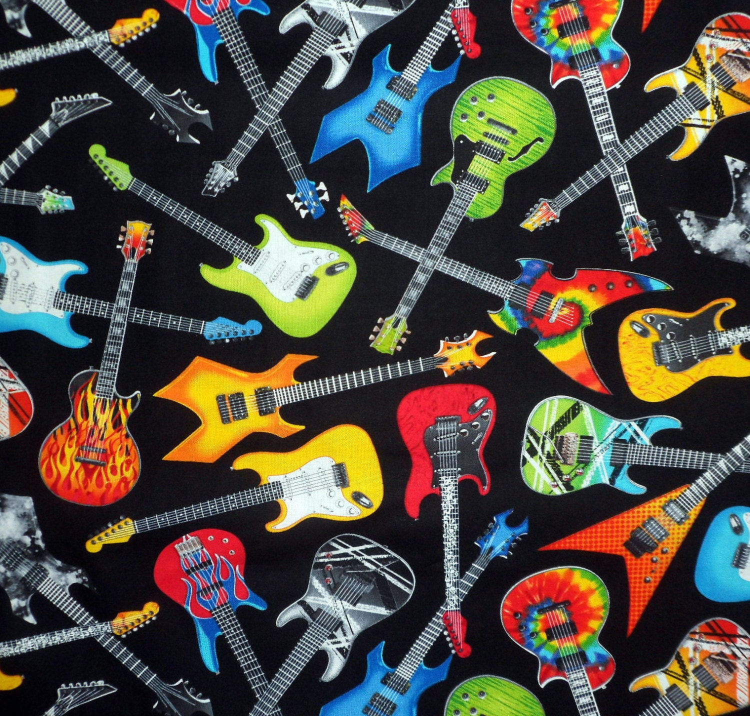 Guitar Fabric Electric Guitar Fabric Musical by Quiltwear ... - photo#28