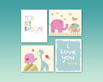 Kids Room Decor Nursery Art Turtle Giraffe Nursery Art Set of 4 print match to Daisy Children art decor Pink Baby Blue Green Yellow Aqua