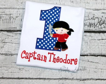 Boy's Pirate Birthday Shirt, Personalized Pirate, Pirate Party, Customize with our choice of fabric and thread colors