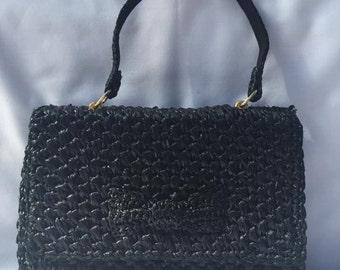 1960's Vintage Black straw purse