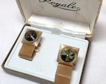 Revoli Rhinestone Cufflinks // Goldtone // Vintage // Original Box