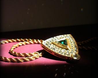 Rhinestone Shield Pin Pendant Necklace