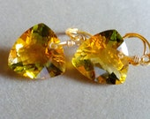 Bi Color Quartz Yellow and Green Fancy Cut Trillions on Gold Filled Earrings Gift for Her