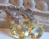 VALENTINES DAY SALE Lemon Yellow Quartz Dangle Earrings Luxe Yellow Zircon Pave  Sterling Silver Earrings Sweetheart Earrings Bridal Earring