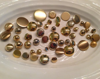 Gold Shank Buttons - 50 assorted gold shank buttons