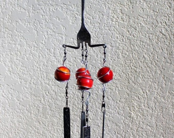 Silverware Wind Chimes,  Flatware Wind Chimes, Red Wind Chimes, Red Marbles 21CFH
