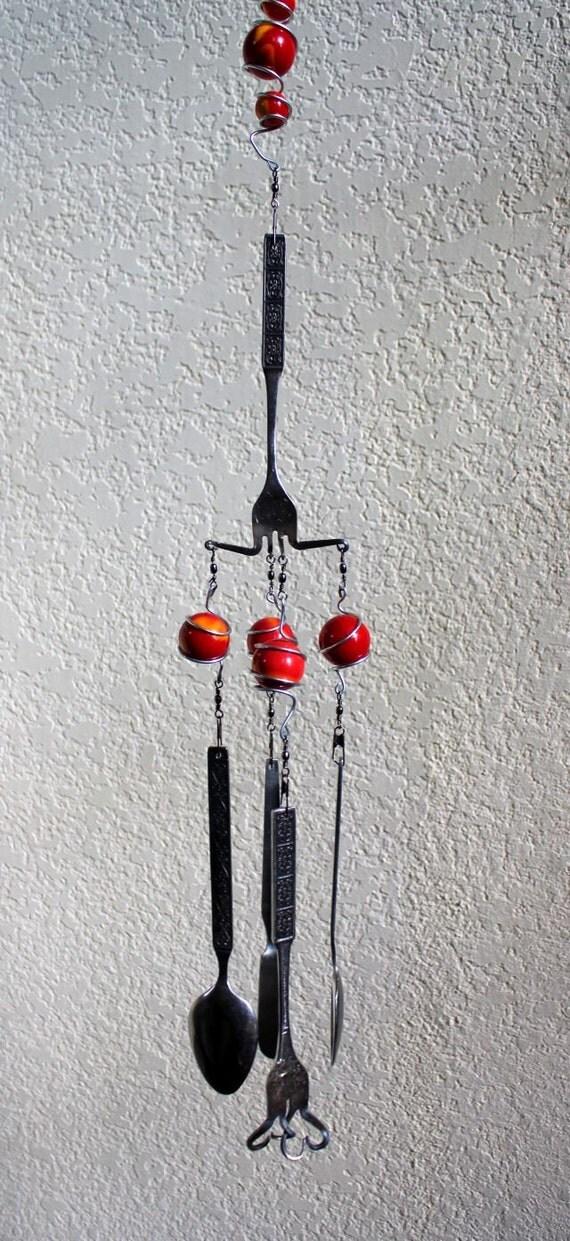 Silverware wind chimes flatware wind chimes red wind for Wind chimes out of silverware