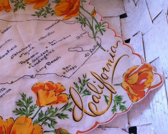 Vintage souvenir hankie map of California scalloped hankie