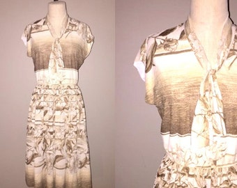 Vintage 70's boho BROWN FLORAL ombre print scarf neck dress - M / L
