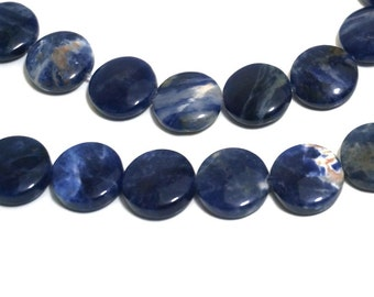 12mm Sodalite beads, flat round natural blue gemstone coin, 8 inch strand  (1215S)