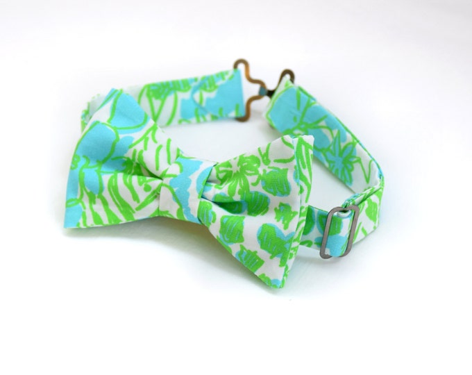Boy's Lilly Bow Tie in limeade It's a Zoo, father/son matching ties, wedding accessory, toddler bow tie, ring bearer bow tie, animal bow tie