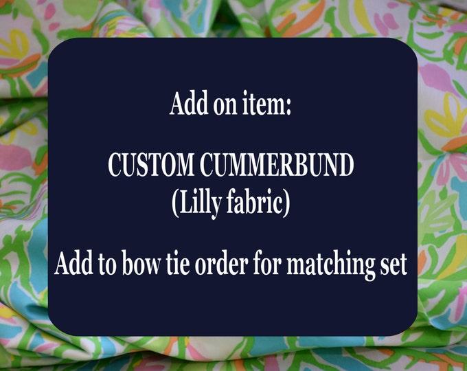 Custom Men's Cummerbund, Lilly fabric, match bow tie, wedding accessory, groom formal wear, Lilly menswear, tuxedo accessory, USA handmade