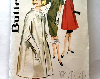 60s Butterick 2975 Flared Cape with Sheath Dress Size 12 Bust 32