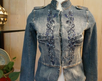 Embellished Tailored Jean Jacket by Paris Blues- Size S