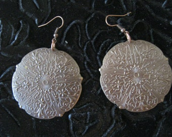 Antiqued Copper Carved Metal Filagree Earrings