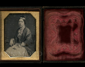 1/4 1840s Dag of Woman Wearing Cameo Brooch ~ Possibly Washington DC