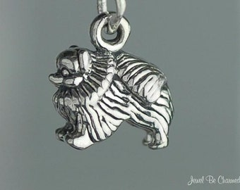 Miniature Sterling Silver Pomeranian Charm Small Tiny 3D Solid .925