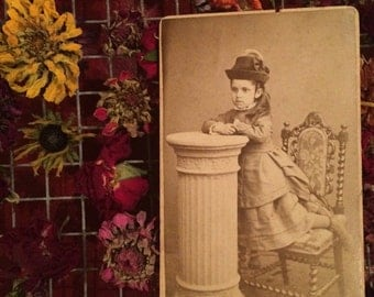 Cdv Antique Photo - Girl - Long Hair - Beautiful Clothes - Romsey  England - Old Photo  Sepia Photography
